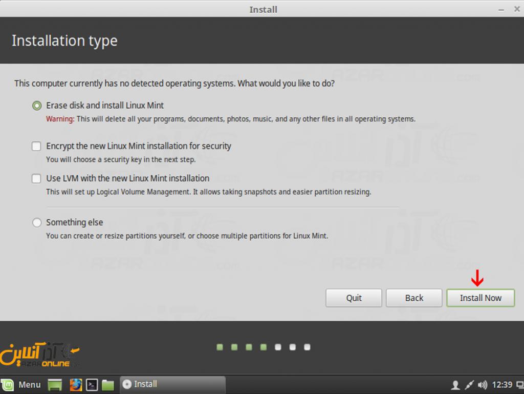 آموزش نصب لینوکس Mint - انتخاب پارتیشن