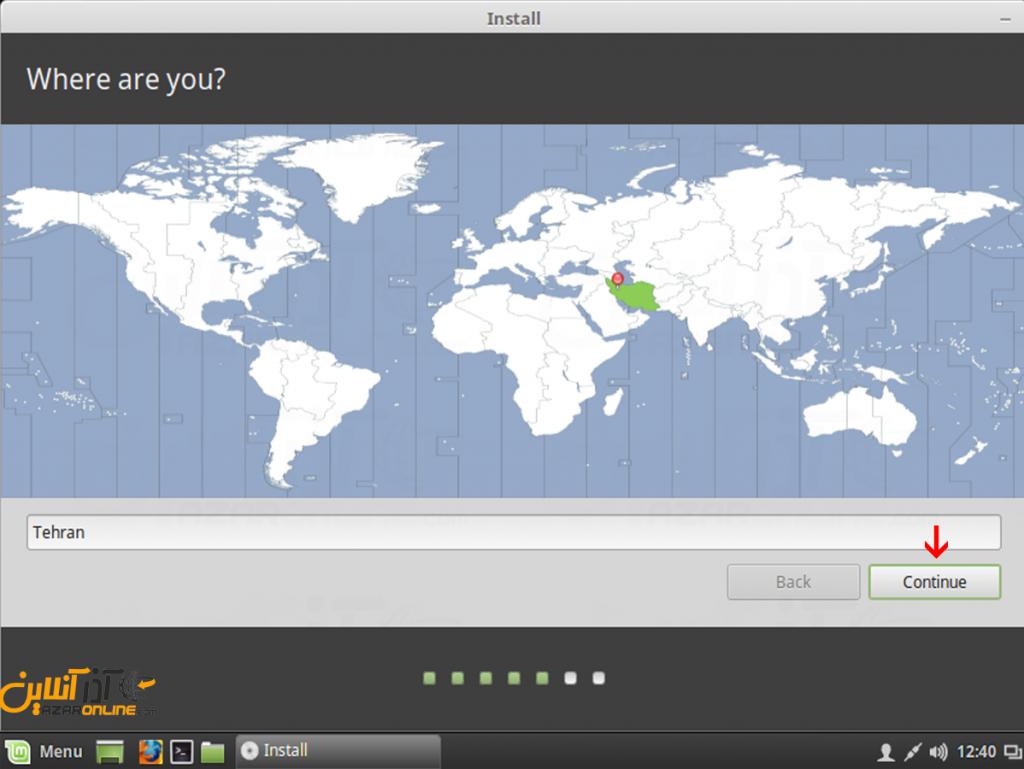 آموزش نصب لینوکس Mint - انتخاب منطقه زمانی