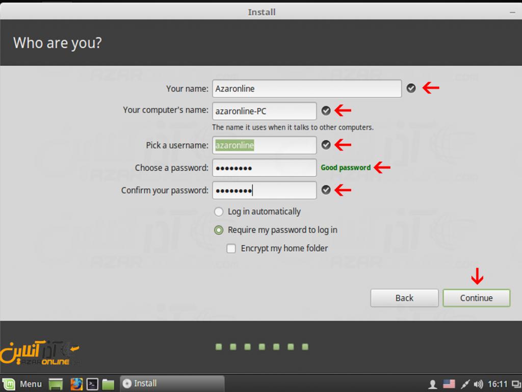 آموزش نصب لینوکس Mint - وارد کردن اطلاعات یوزر