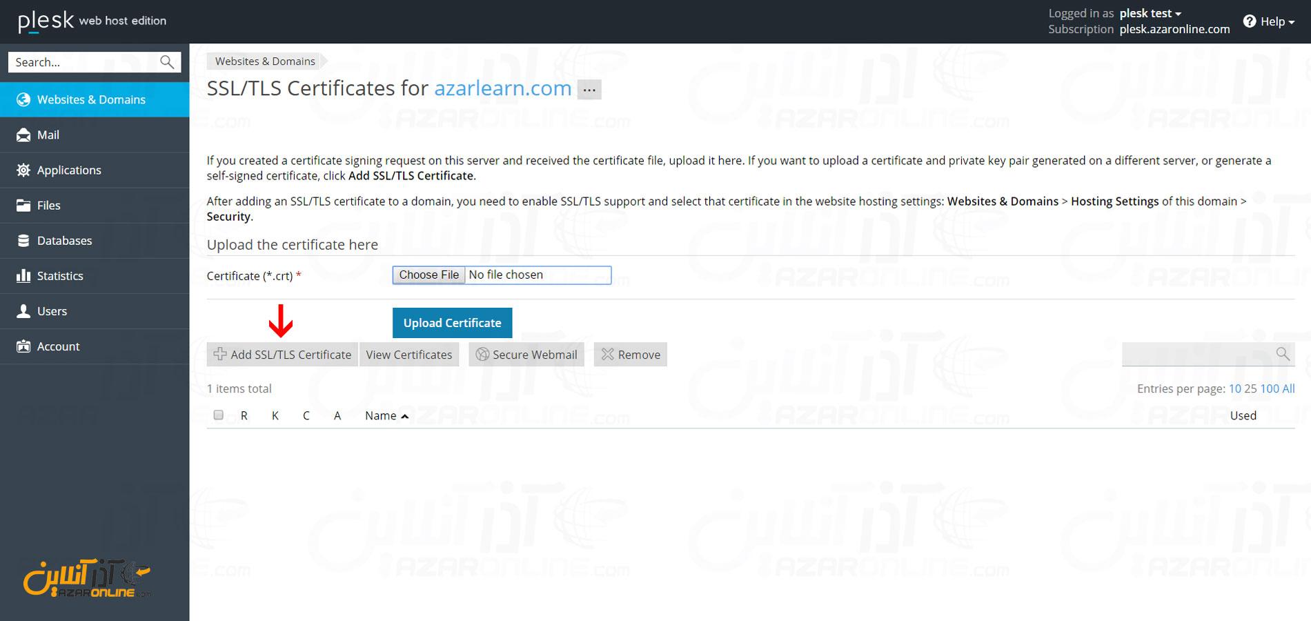 کلیک بر روی Add SSL/TLS Certificate
