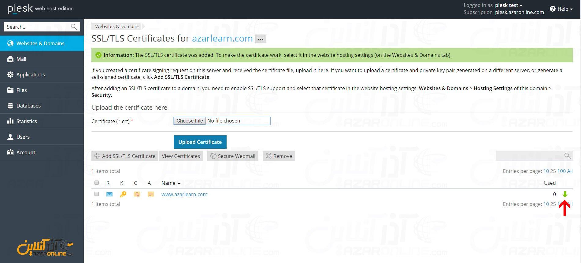 آموزش درخواست گواهینامه SSL در پلسک - دانلود CSR