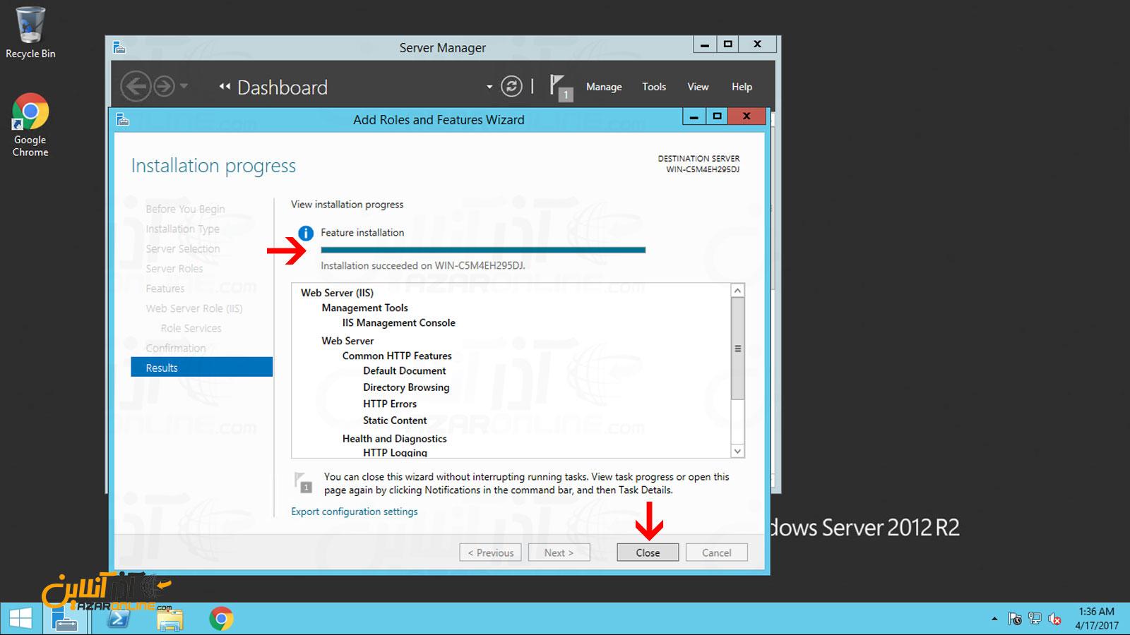 تاییدیه نصب رول Web server با کامپوننت های IIS