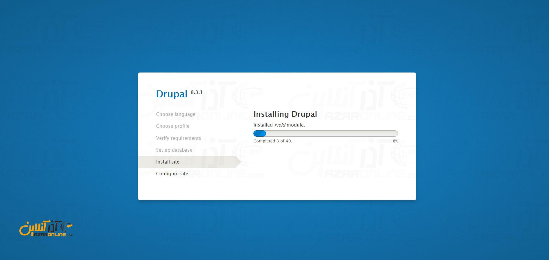 آموزش نصب دروپال در لوکال هاست - پیشرفت نصب