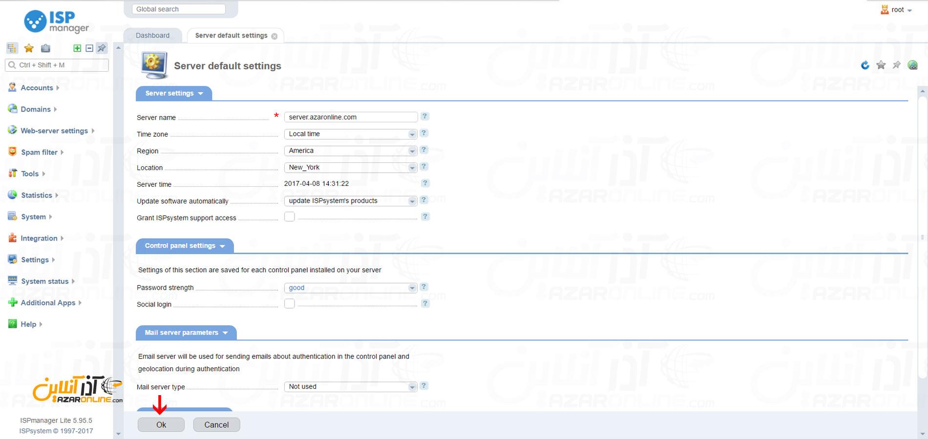 نصب کنترل پنل ISPmanager در لینوکس CentOS - تنظیمات سرور