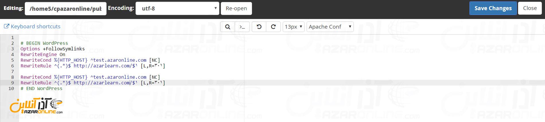 ریدایرکت دامنه بدون تغییر در رتبه گوگل - وارد کردن کد ها در htaccess