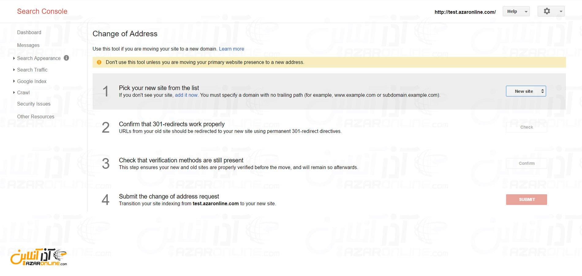 ریدایرکت دامنه بدون تغییر در رتبه گوگل - صفحه تغییر دامین