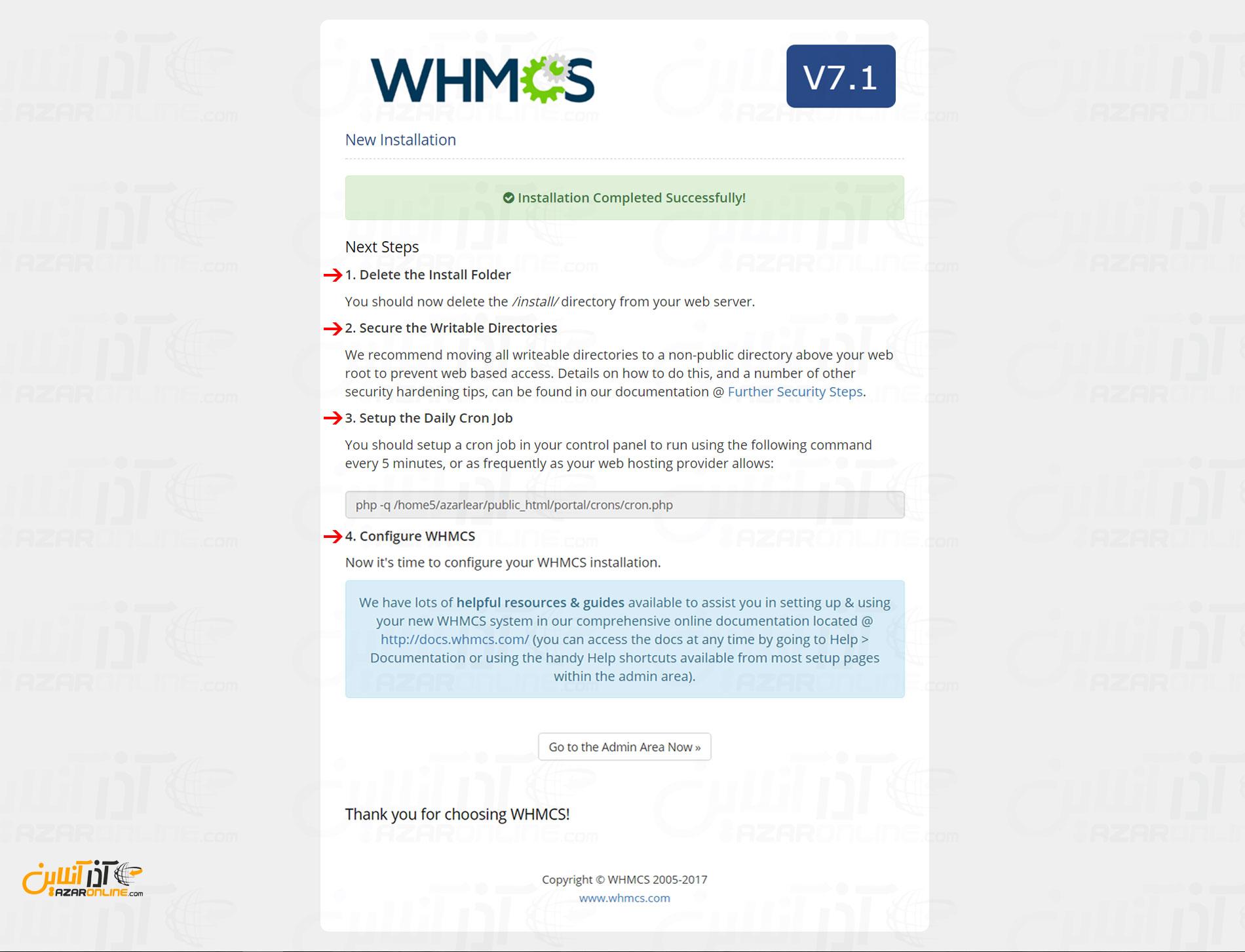 آموزش نصب whmcs - نصب به پایان رسید - شروع تنظیمات بعد از نصب