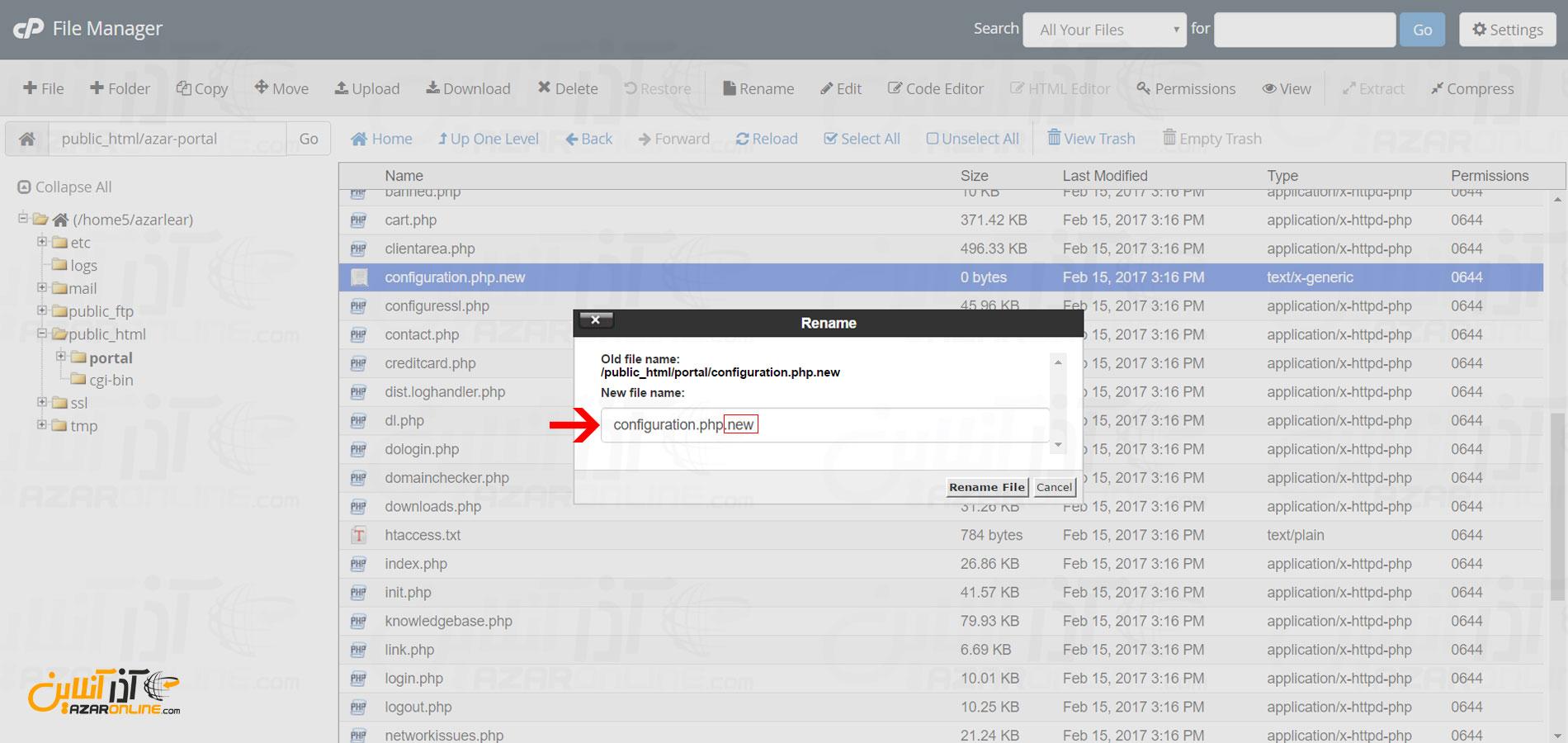 تغییز نام فایل configuration.php.new