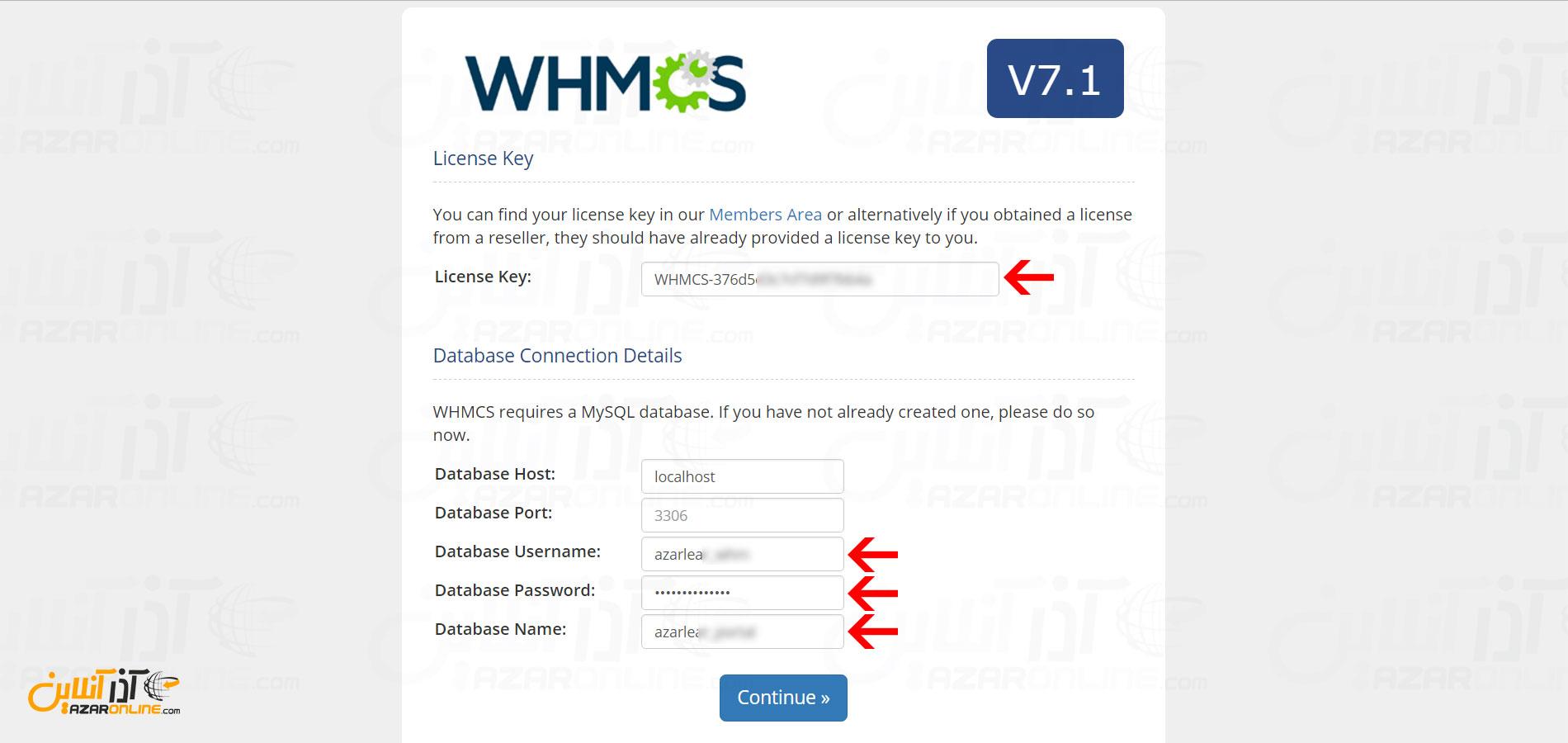 آموزش نصب whmcs - وارد کردن لایسنس و اطلاعات دیتابیس