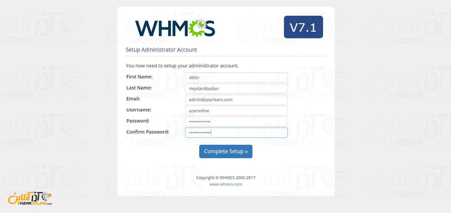 آموزش نصب whmcs - وارد کردن اطلاعات کاربری