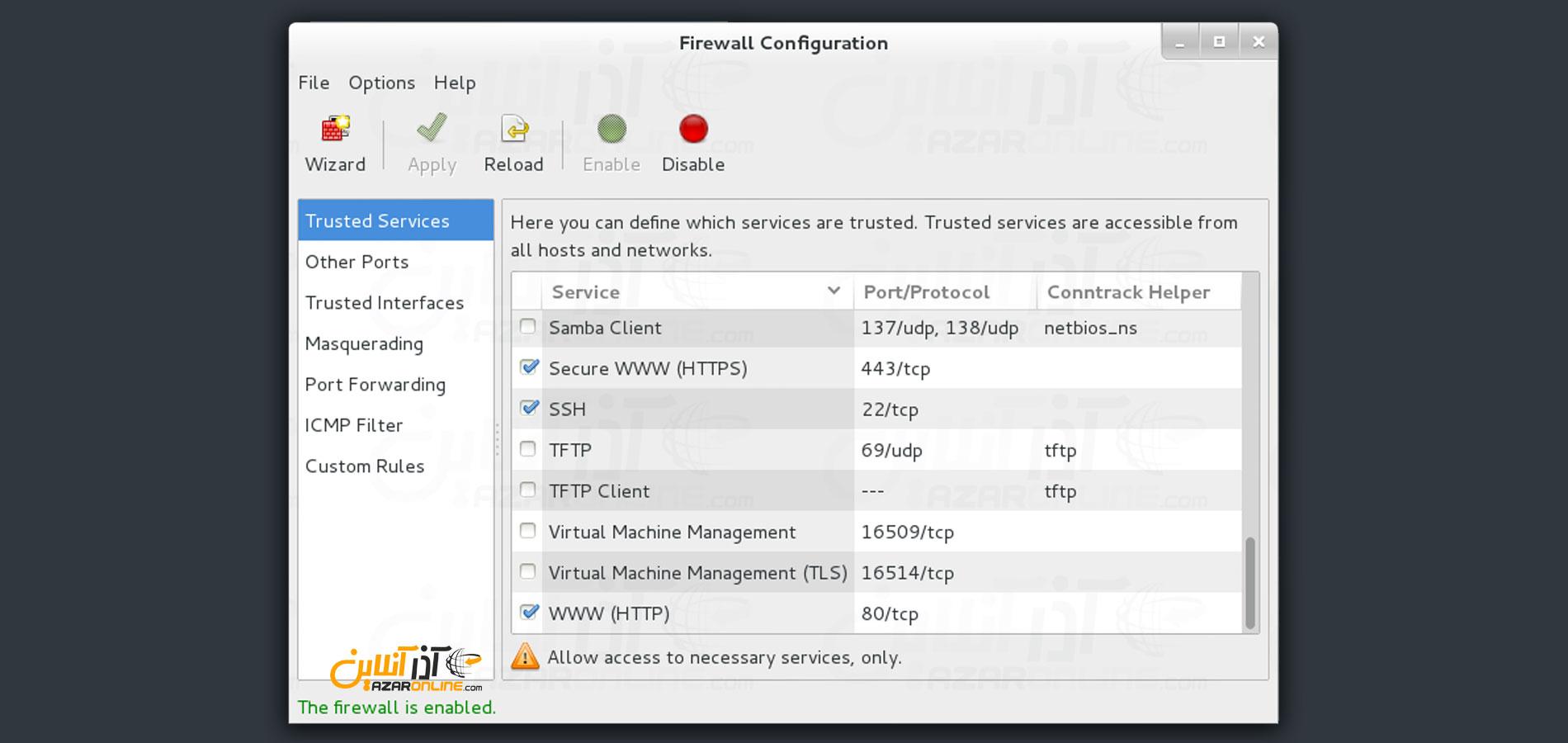 معرفی فایروال FirewallD در CentOS - تصویر محیط FirewallD