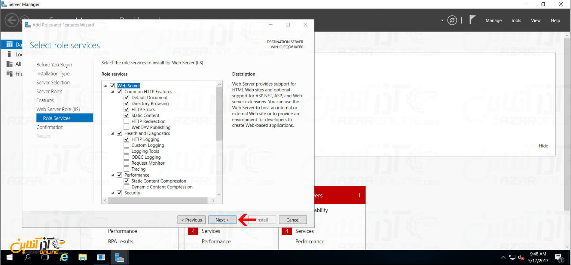 نصب IIS در ویندوز سرور 2016 - انتخاب Featureهای IIS