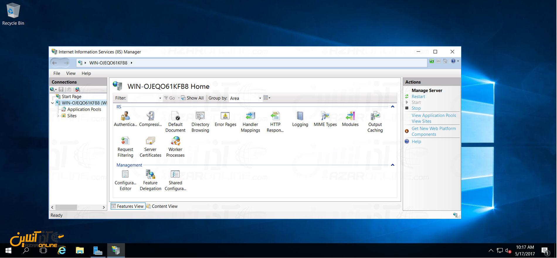 نصب IIS در ویندوز سرور 2016 - باز شدن صفحه مدیریت IIS