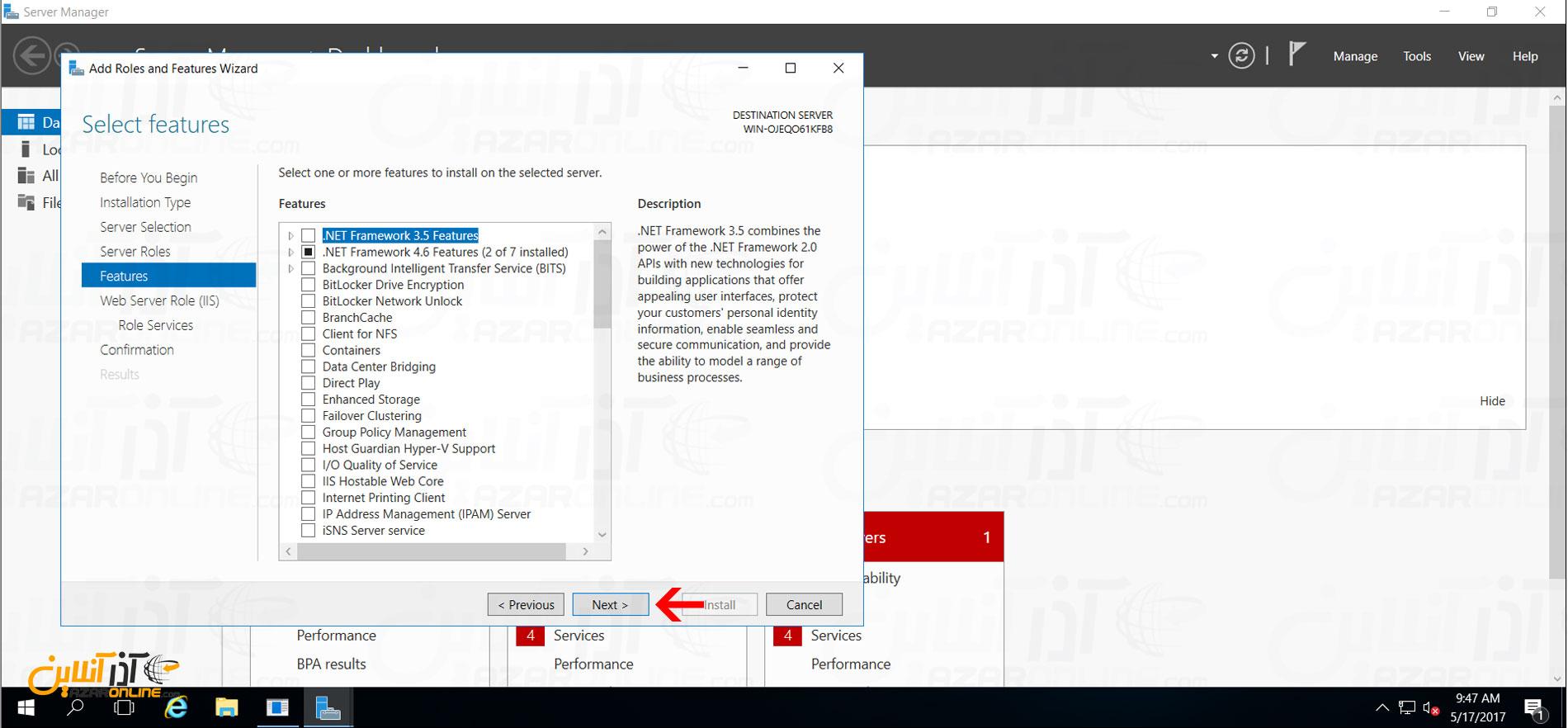 نصب IIS در ویندوز سرور 2016 - add feature