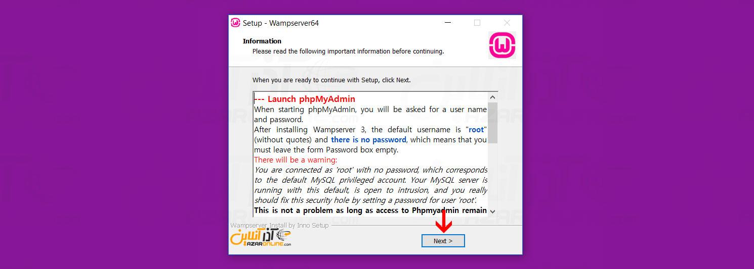 اطلاعات سرویس ها و پسوردها - آموزش نصب WampServer