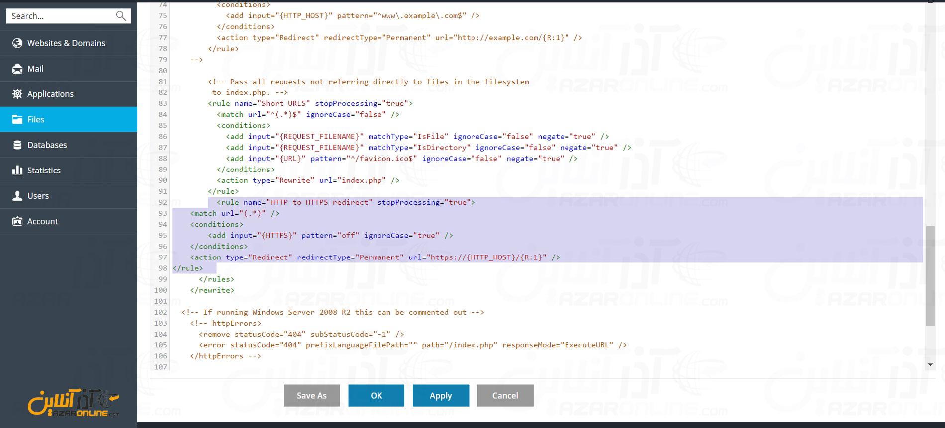 وارد کردن کد در web.config