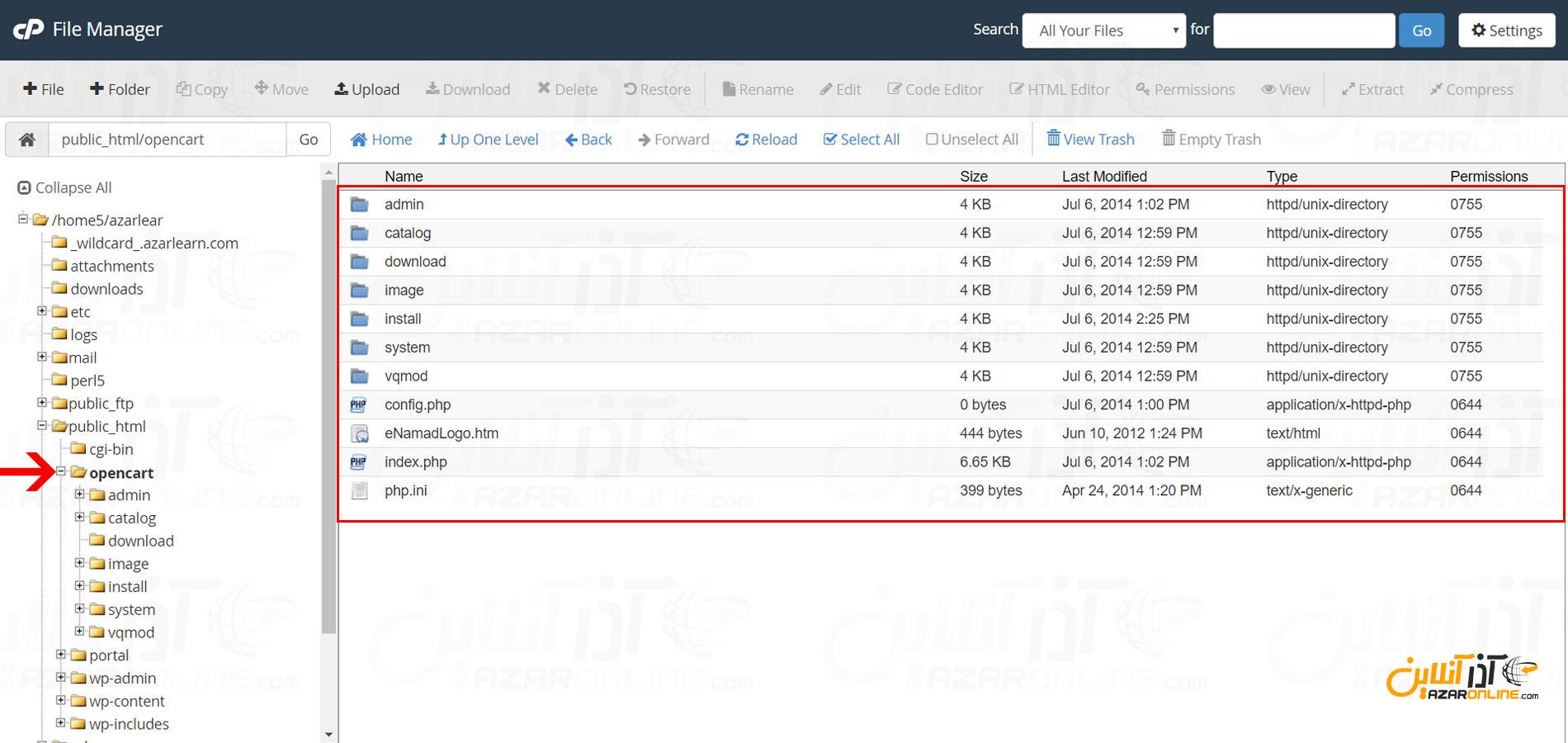 extract فایلهای opencart