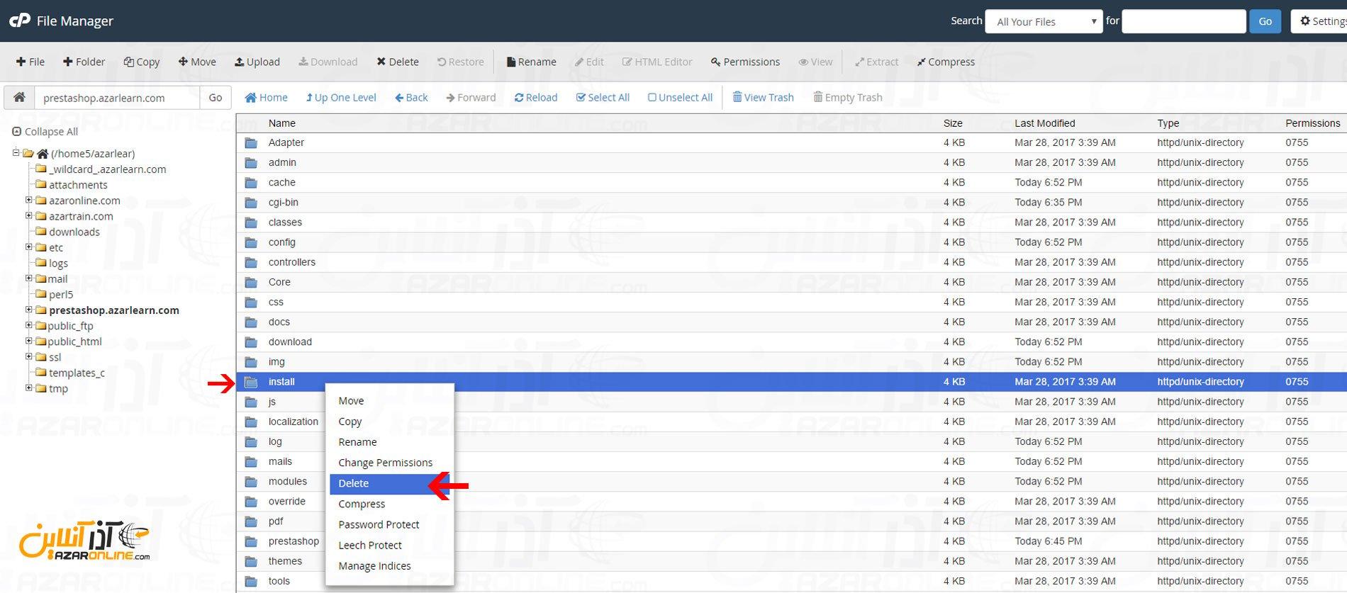 حذف فولدر install - آموزش نصب پرستاشاپ