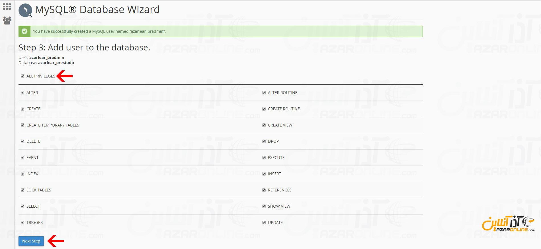 دسترسی یوزر ساخته شده به دستابیس و انتخاب all privileges