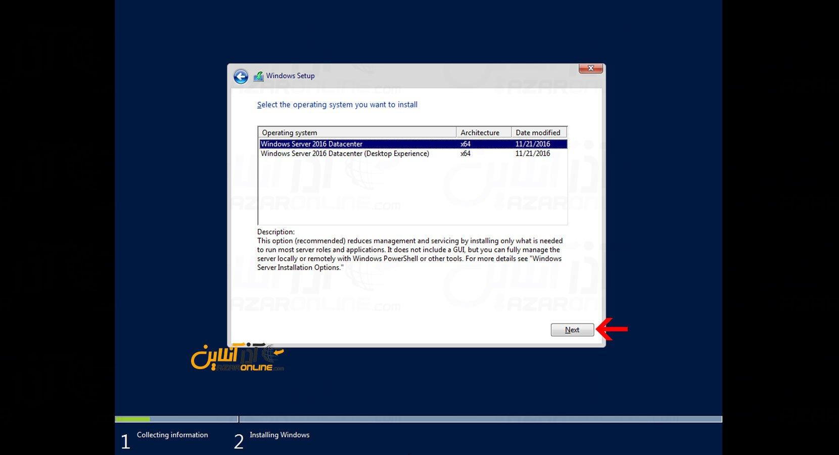 آموزش نصب ویندوز سرور 2016 در vmware - انتخاب Edition