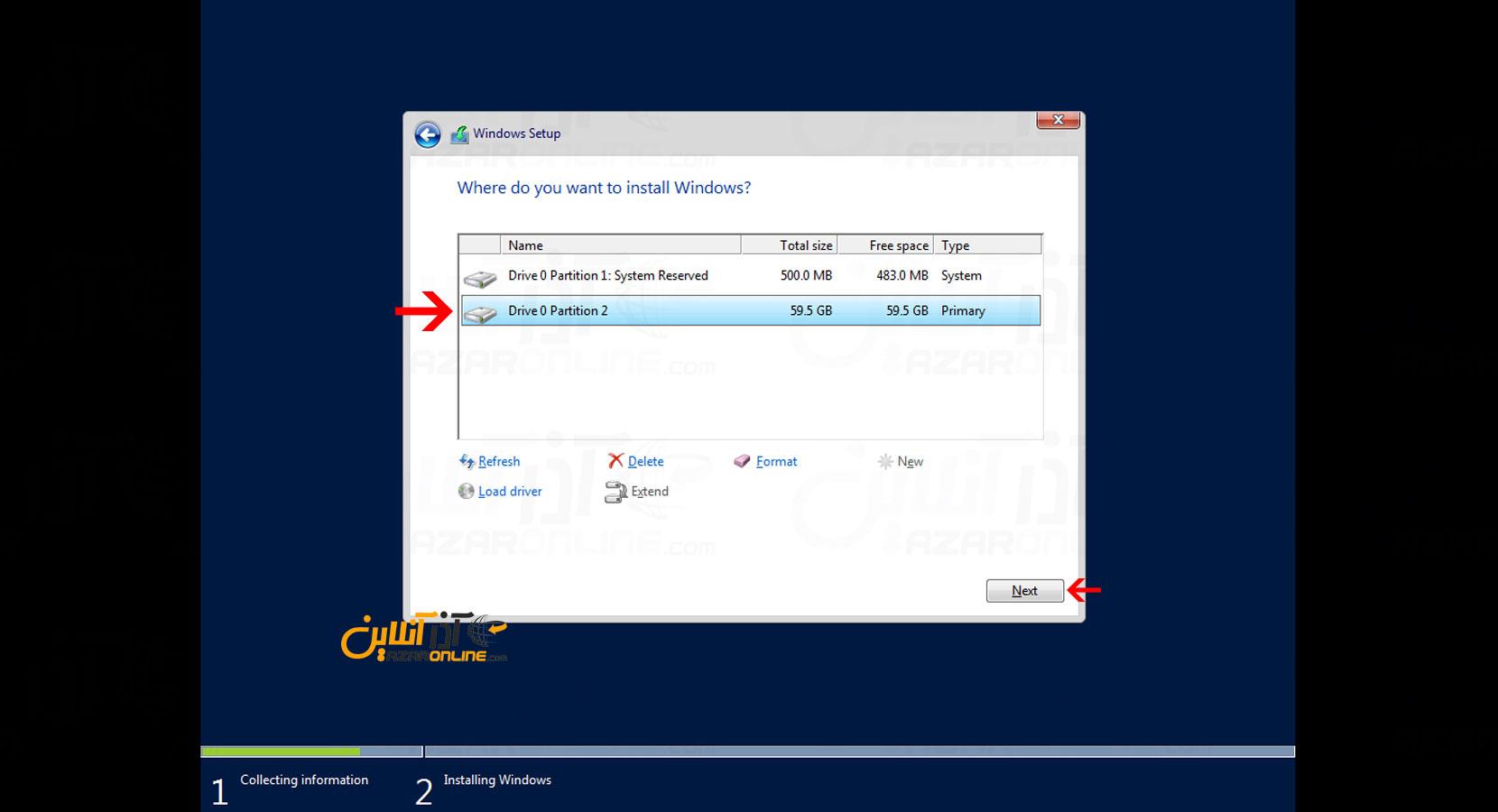آموزش نصب ویندوز سرور 2016 در vmware - ساخته شدن پارتیشن