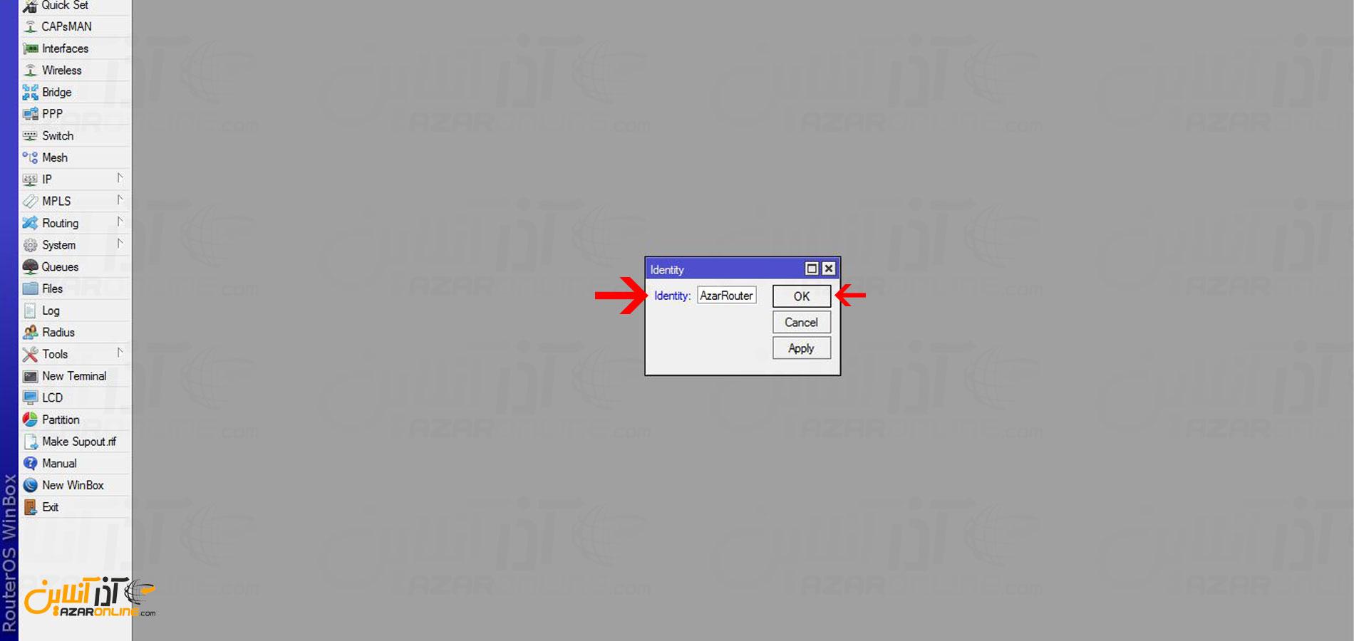 تغییر نام روتر میکروتیک از طریق winbox