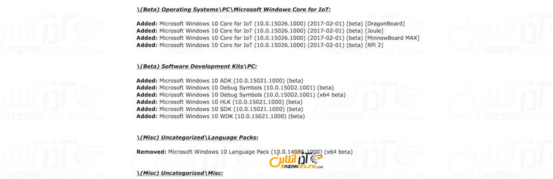 لیست برخی از اطلاعات ربوده شده از مایکروسافت
