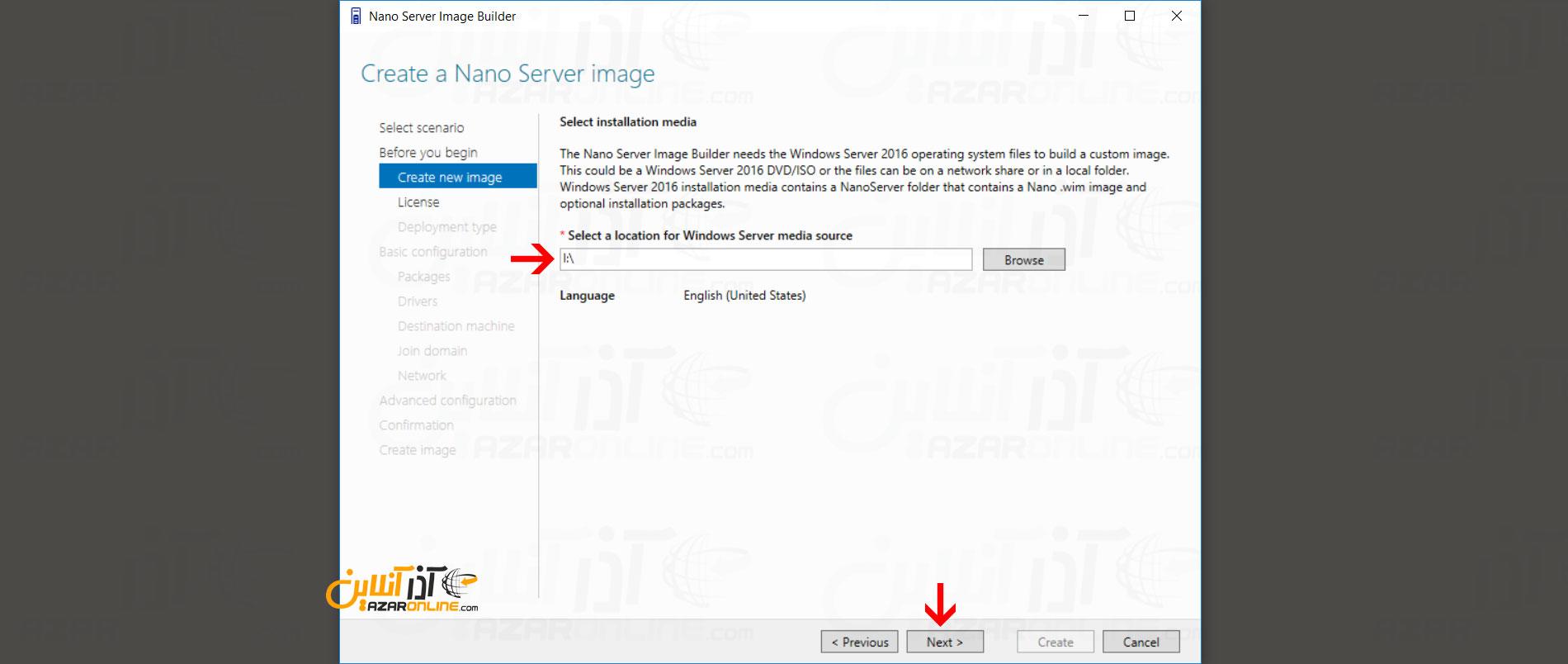 وارد کردن آدرس ISO ویندوز سرور 2016