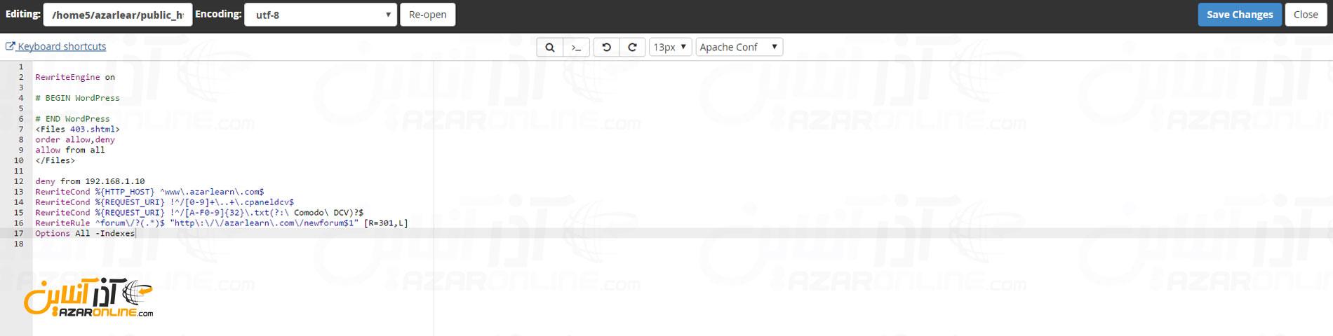 نمایش فایل htaccess پس از اضافه شدن کد غیرفعال سازی نمایش دایرکتوری وردپرس