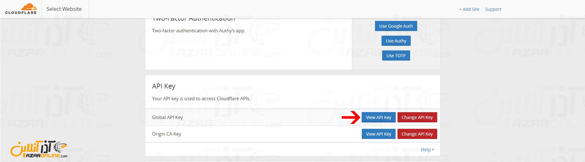 دیدن کد API کلودفلر