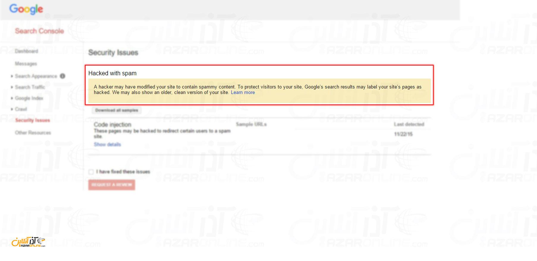 نمایش نمونه خطایی که در بخش Security issue گوگل نشان داده شده است