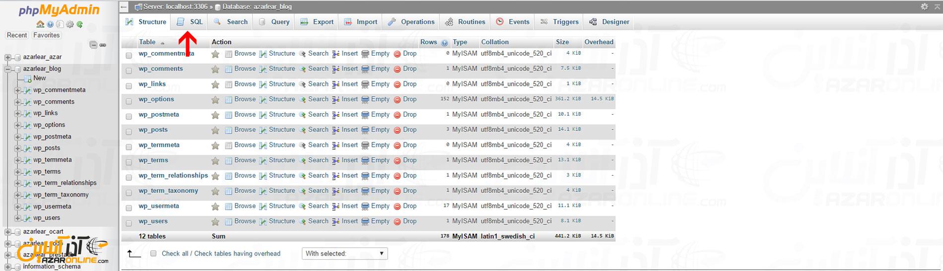 رفتن به بخش SQL در پایگاه داده وردپرس