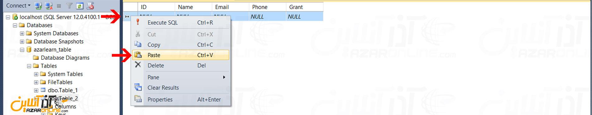 Paste کردن اطلاعات از اکسل در SQL