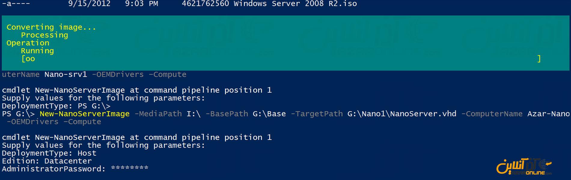 پاورشل شروع به Deploy فایل VHD نانو سرور کرده است