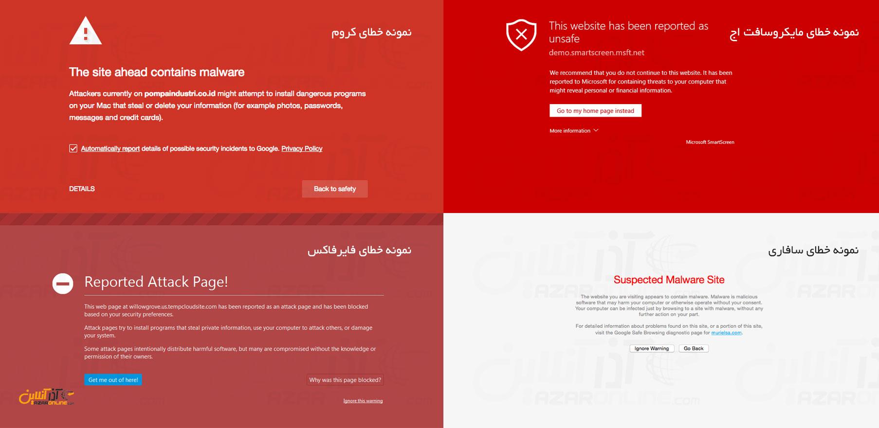نمونه خطاهای report attack block رخ داده در مرورگرهای مختلف