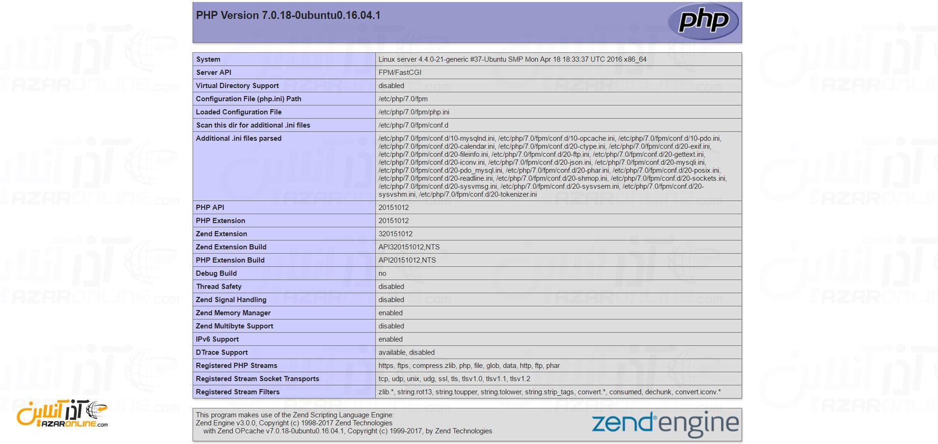 تست نصب و کارکرد php در nginx - آموزش نصب LEMP در ابونتو 16
