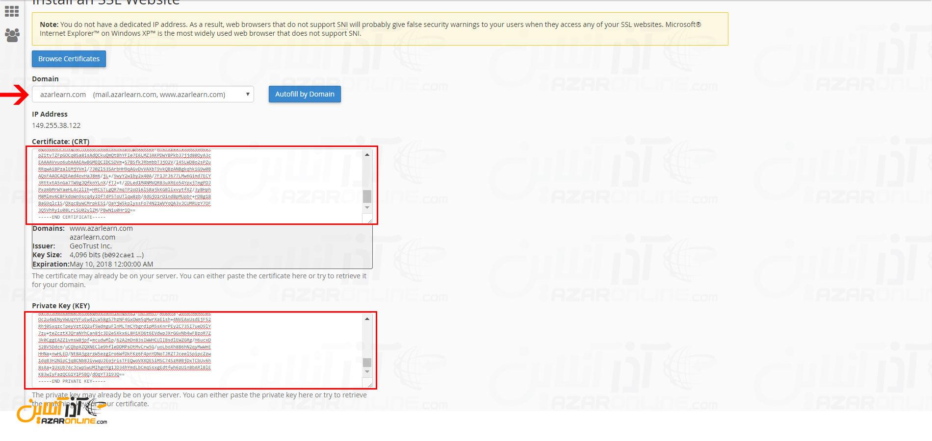 وارد کردن اطلاعات certificate - انتقال ssl از plesk به cpanel