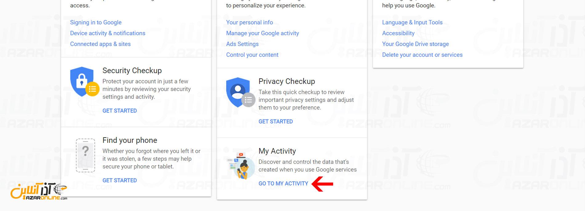 رفتن به بخش my activity گوگل
