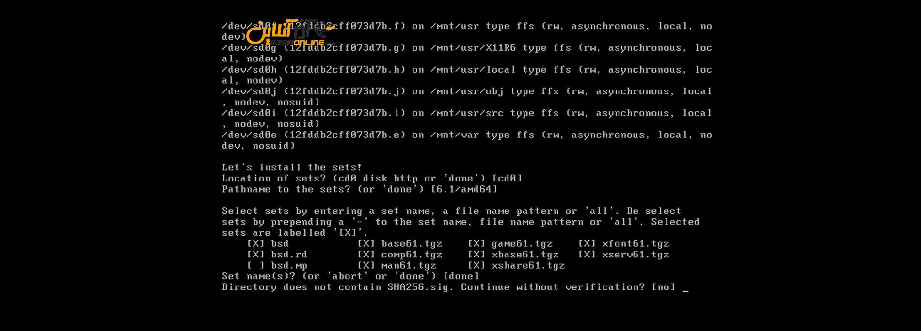 وارد کردن yes برای نصب فایلهای تنظیم