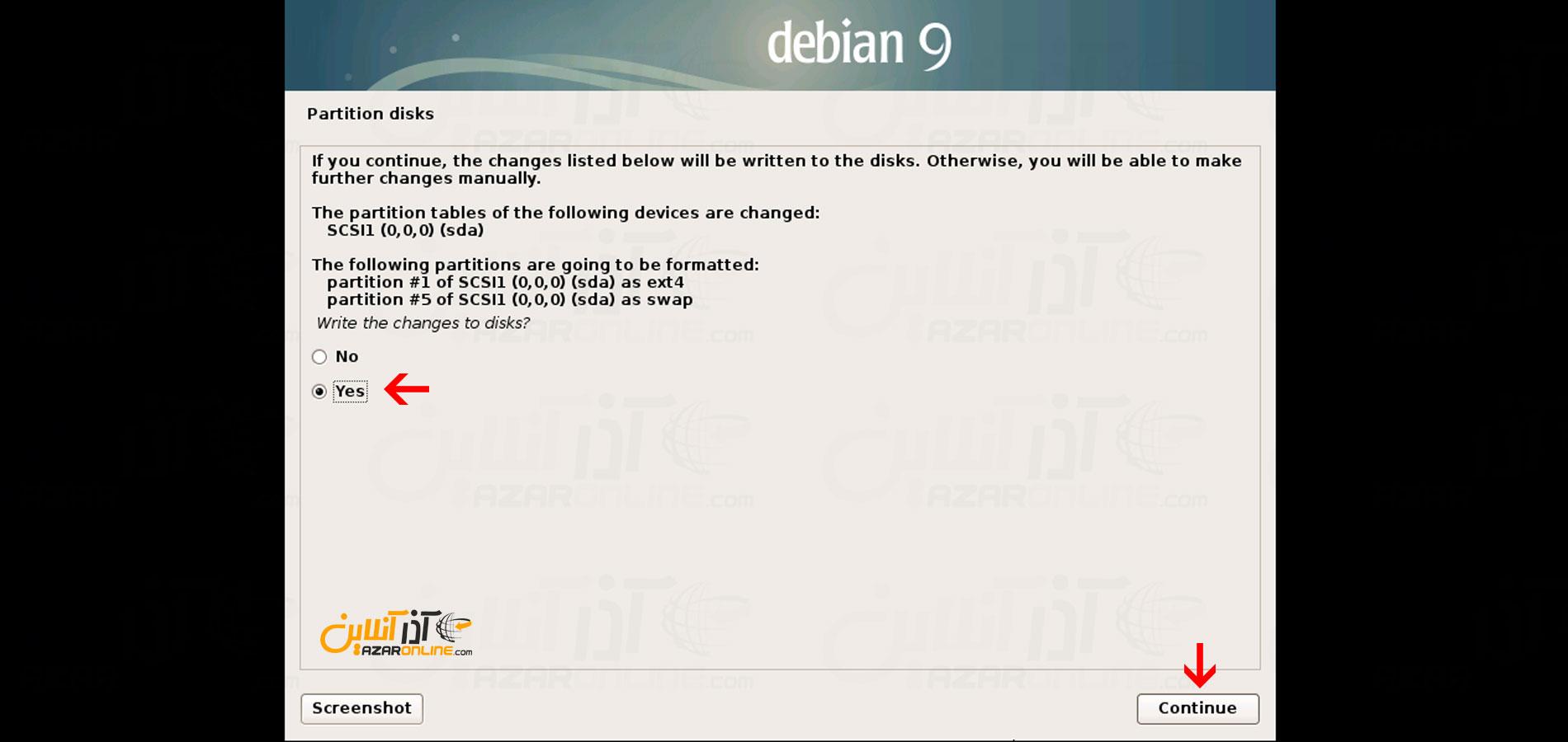 تأییدیه فرمت و پارتیشنبندی جهت آموزش نصب دبیان 9 روی Vmware